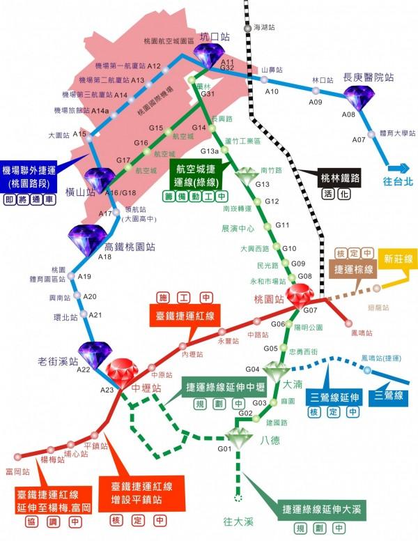 桃園捷運綠線圖。(取自桃園市政府網站)