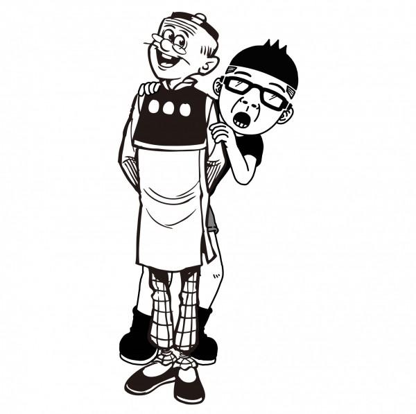 老夫子的第2代創作者王澤,日前與Duncan結盟,聯手繪圖,幫今年3月舉辦的台灣國際遊艇展,畫出「Duncan夫子」聯名作品。(老夫子哈媒體提供)