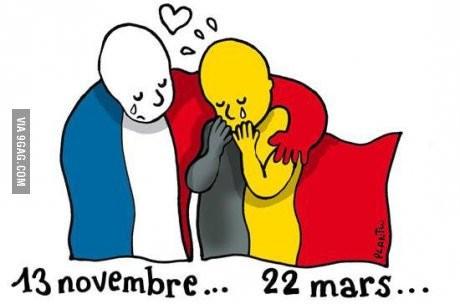 網友們紛紛為布魯塞爾恐襲祈福,網上也出現了法國3色旗安慰比利時國旗的繪圖。(圖擷取自推特)
