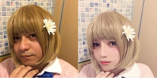 有網友把Miqyuro的臉修得更小,看起來就像楚楚可憐的正妹。(圖擷取自推特)