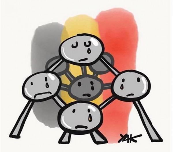 網友們紛紛為布魯塞爾恐襲祈福,布魯塞爾的代表「原子球塔」也被網友們加上哭泣的模樣。(圖擷取自推特)