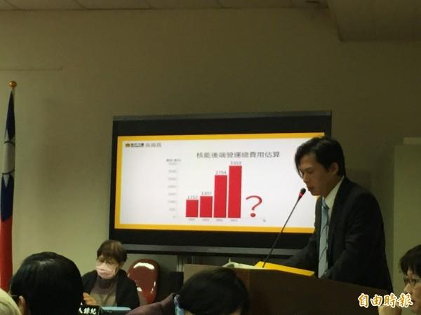 時代力量立委黃國昌質疑台電除役費用報告不清,沒有任何細項,「究竟是夠用還是不夠?」(記者林筑涵攝)