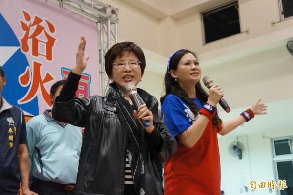 洪秀柱南下台南,與基層黨員面對面、抒發政治理念。(記者林孟婷攝)