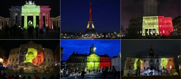 比利時首都布魯塞爾昨發生連續恐怖攻擊事件,全球標誌性地標都在晚間換上比利時國旗顏色表達哀悼。(法新社)