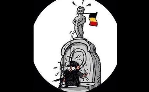 尿尿小童的「尿」淋向IS聖戰士的頭上,象徵澆熄如烈火般蔓延的恐怖主義。(圖擷取自Twitter)