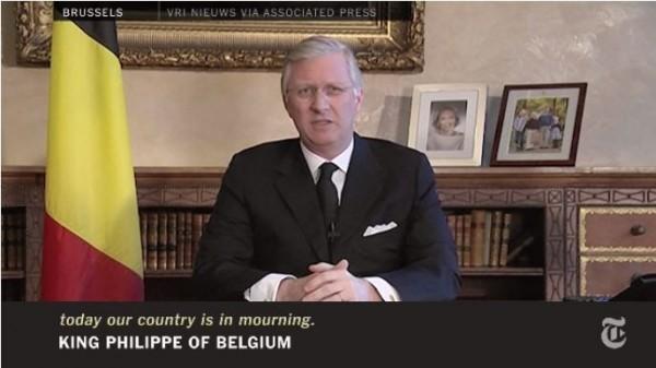 比利時國王菲利普(Philippe Léopold Louis Marie)罕見透過螢幕對全國民眾發表談話。(圖擷自影片)