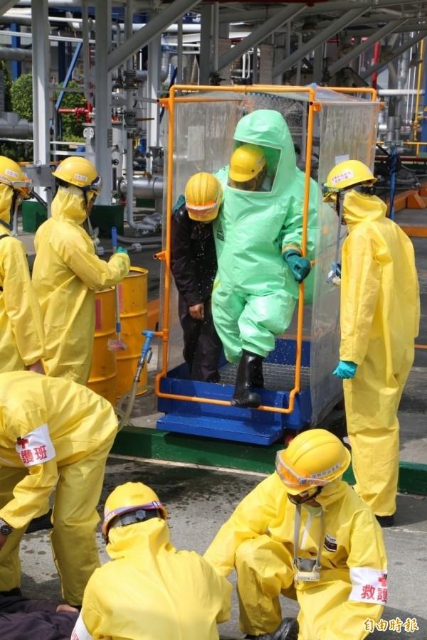 圖為毒性化學物質外洩災害救與應變演練。情境圖與文無關(資料照,記者余雪蘭)