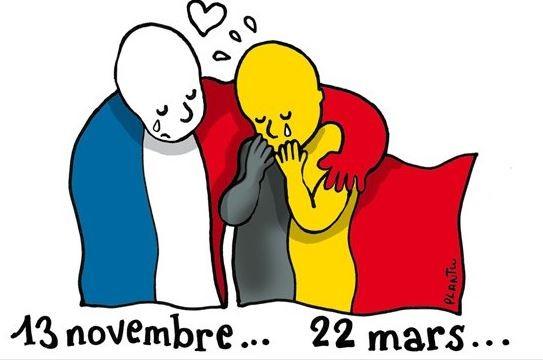 網友將法國及比利時的國旗擬人化,並在國旗下方寫下遭受恐攻的日期,法國伸手擁抱、安慰比利時。(圖擷取自Twitter)