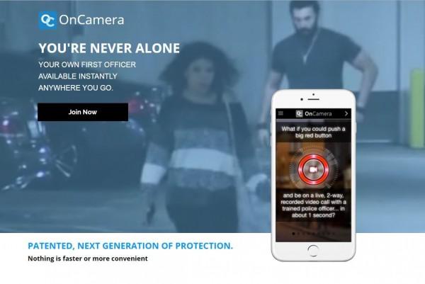 有美國業者研發一套名為「OnCamera」的APP軟體,只要用手機瞄準歹徒,手機便會與警政系統連線。(圖擷取自OnCamera官網)