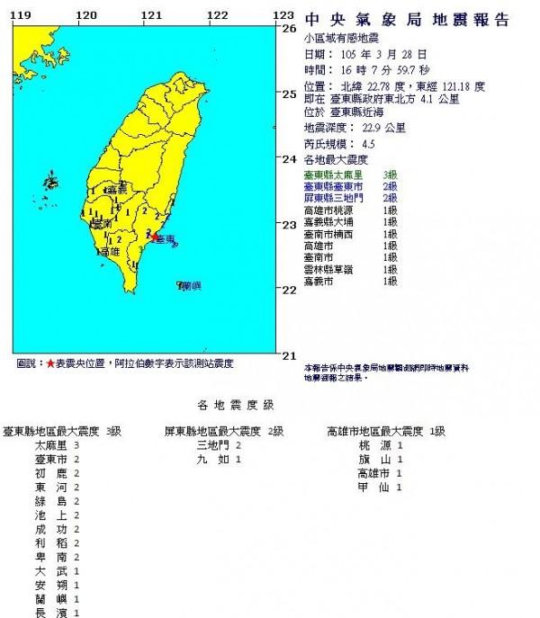 台東在3月28日下午4時7分發生小區域有感地震,芮氏規模為4.5。(圖擷取自中央氣象局)