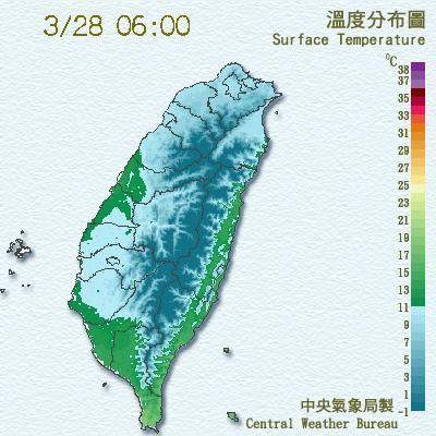 中央氣象局表示,今天清晨受到輻射冷卻的效應影響,嘉義以北及宜蘭低溫普遍在10度以下。(圖片取自氣象局)