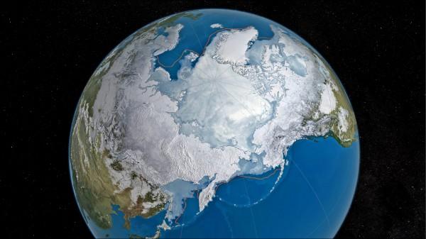 美國國家航太總署(NASA)衛星照片顯示,3月24日北極海冰的最大覆蓋面積約1452萬平方公里,打破去年2月25日創下的1454萬平方公里舊紀錄。黃線為1981至2010年之中位數。 (取自全國雪冰資料中心(NSIDC)網站)