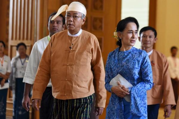 緬甸新總統碇喬與翁山蘇姬。(路透)