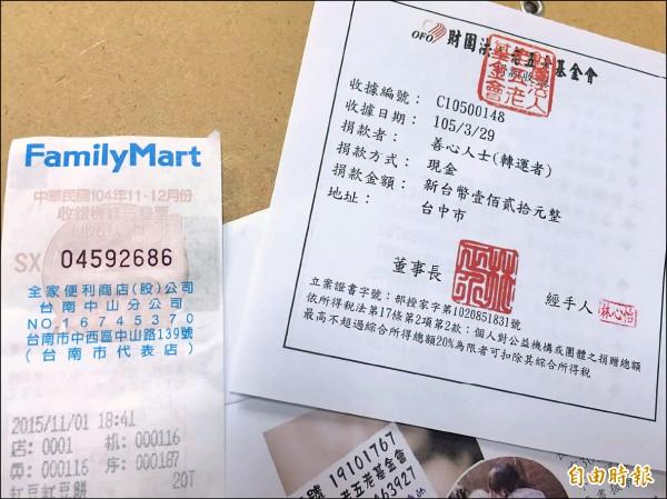 老五老基金會社工收到疑似冥婚紅包,當天社工們整理捐款箱,發票竟對中了一萬元,直稱好運。(記者蘇金鳳攝)