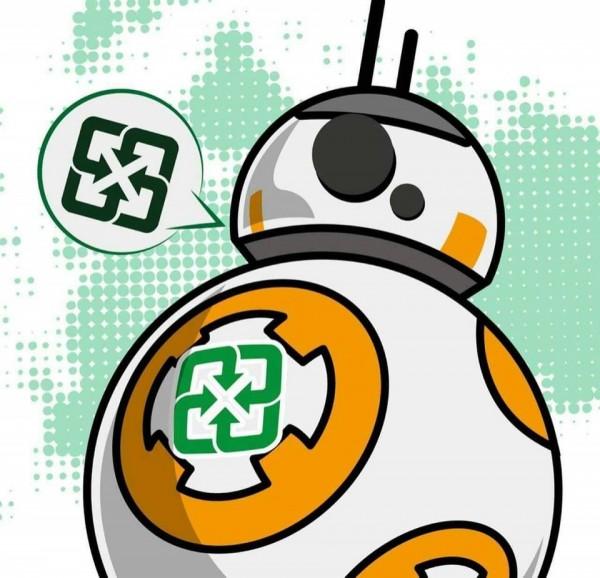 環保署新推出的資源回收活動,直接盜用多個知名外國電影角色,引發痛批。圖為星際大戰的機器人BB-8。(圖擷自鍾孟舜臉書)