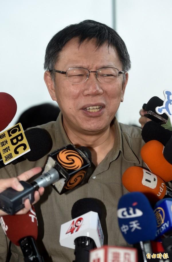 柯文哲表示,過度的言論自由有一些後遺症,「這麼多媒體、PTT,台灣最不欠缺的就是謠言」。(記者簡榮豐攝)