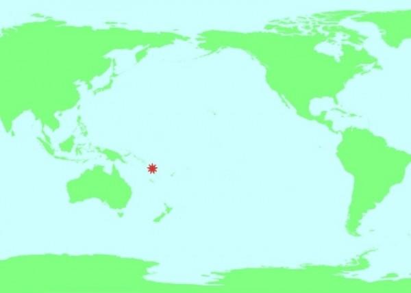 太平洋島國萬那杜共和國台灣時間今天上午11點33分發生芮氏規模7的強震,紅星為震央。(圖擷取自網路)
