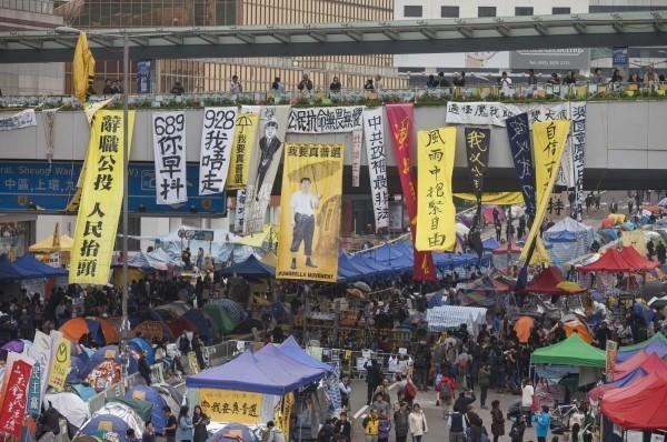 香港2014年爆發佔中爭取真普選運動。(EPA)