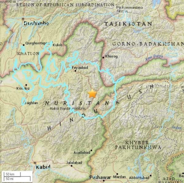 阿富汗稍早發生規模6.6地震,目前尚未傳出死傷。(圖擷取自美國地質調查局)