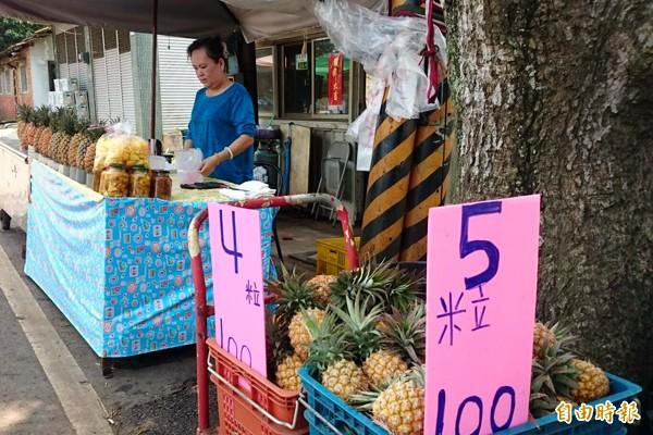 民雄鄉鳳梨進入產季,產區小果5粒100元,價格超低。(記者余雪蘭攝)