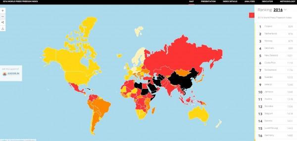 無國界記者組織公布世界新聞自由指數,台灣是亞洲之冠,中國則是倒數第5。(圖擷自無國界記者組織網站)