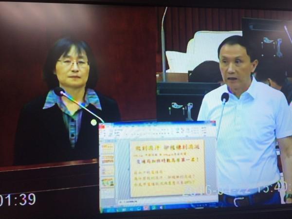 台北市議員李新(右)今質詢交通局長鍾慧諭(左),屢問鍾「妳怎麼還不走」,鍾被問到表情木然。(記者郭逸翻攝)
