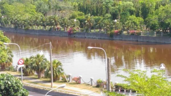 愛河河水呈現暗紅色。(圖擷自PTT八卦板)