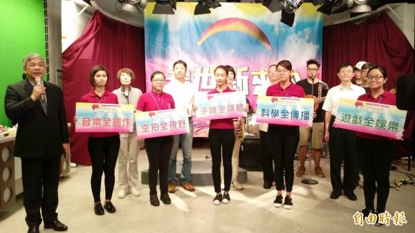 世新大學今舉辦徵才博覽會,並由副校長陳清河宣誓5項教學特色。(記者李盈蒨攝)