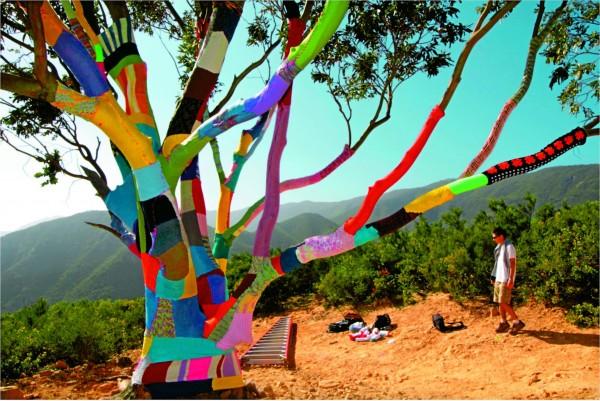 樹編織,2012年位於美國加州聖塔芭芭拉地區的毛線轟炸作品。(圖片擷取自網站12for2012)