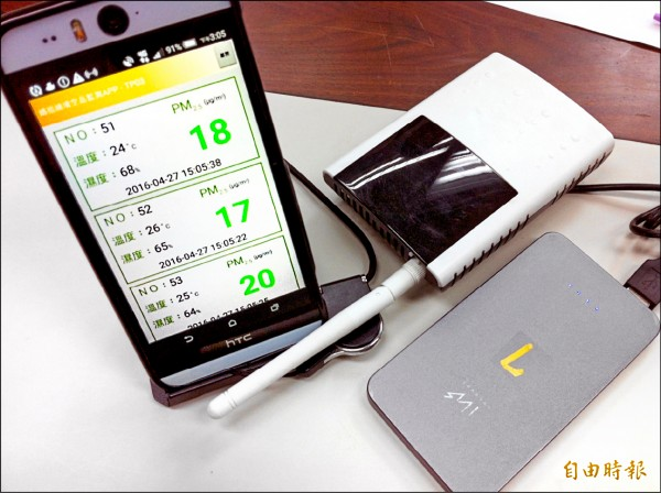 大甲媽祖遶境PM2.5小尺度監測的相關配備,微型感測器及濃度顯示手機。(記者楊綿傑攝)