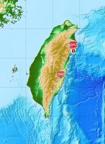 中央氣象局資料顯示,昨天深夜至今天上午,地震頻繁主要集中在花東地區。(圖取自中央氣象局)