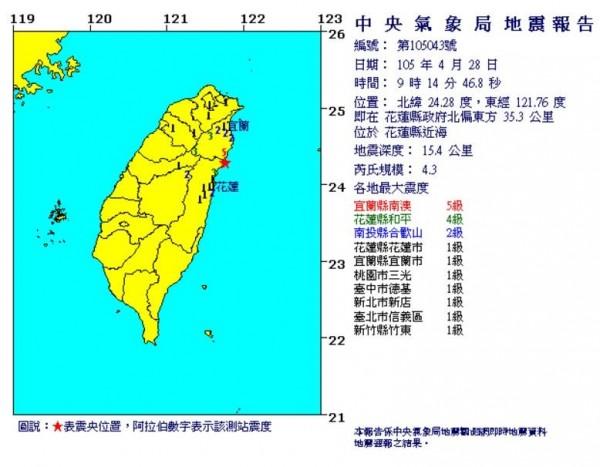 今天凌晨開始地震頻傳。(圖取自氣象局)