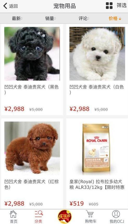 中國的購物網站上,現在竟然賣起活體的寵物貴賓狗。(圖擷取自東方購物)