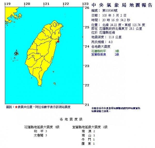 花蓮縣於今天晚間8點16分發生芮氏規模4.0的有感地震,震央位於花蓮縣近海,深度11.8公里,屬於淺層地震。(圖擷取自中央氣象局)
