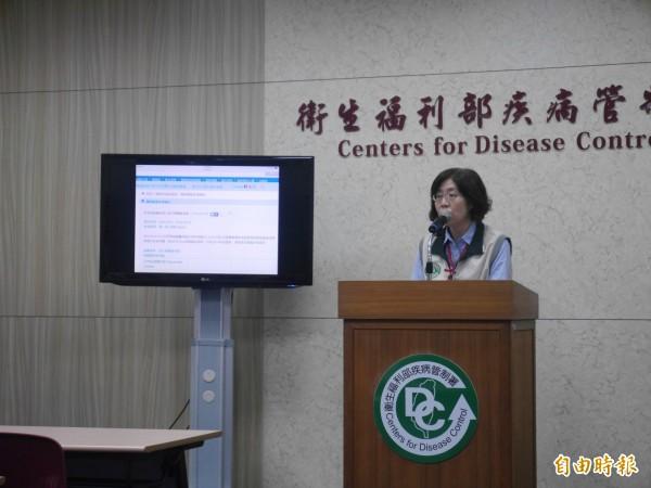 疾管署疫情中心主任劉定萍說明上週國內外疫情。(記者林惠琴攝)