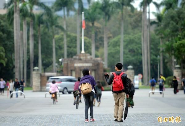 台大在100間聲譽最傑出大學排行中持續下滑。(資料照,記者方賓照攝)