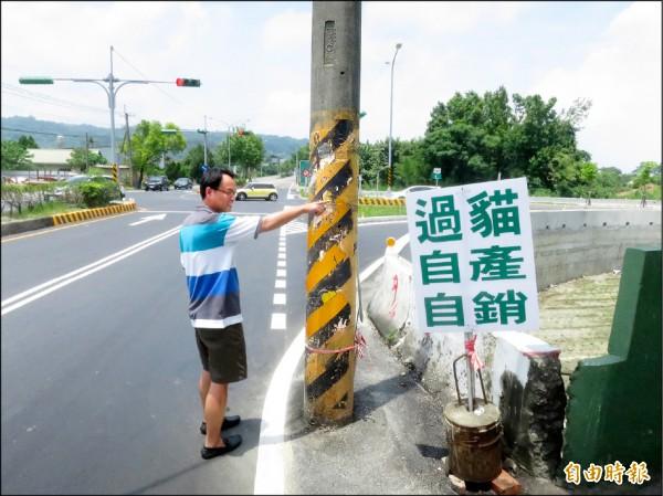 台三線(直行)連接聯絡道(右轉)的路口,有支電桿緊鄰道路,民眾擔心未來「撞」況恐不少。(記者劉濱銓攝)
