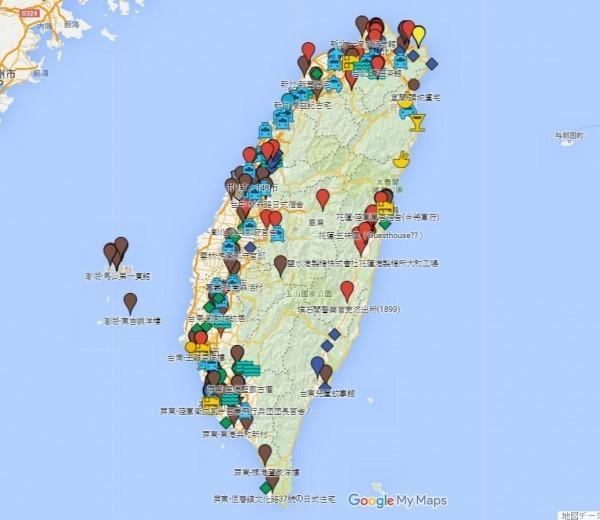 在日式建築MAP中,可以看到全台各地都有日治時期留下的建築物。(圖擷自日式建築GOOGLEMAP)