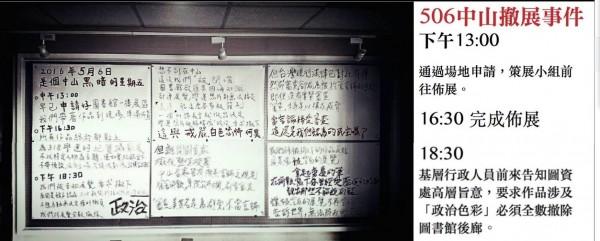 學生會今凌晨將攝影作品反貼,以白色背面呈現,並寫下事件的過程以示抗議。(擷取中山大學學生會臉書)