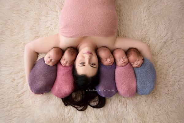 澳洲26歲媽媽圖西(Kim Tucci)產下5胞胎。(圖擷自臉書)