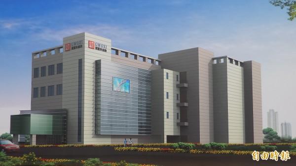 國璽幹細胞公司在新竹生醫園區興建的幹細胞製劑藥廠展示圖。(記者廖雪茹攝)
