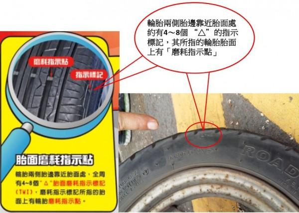 輪胎上有「磨耗指示點」。 (高雄區監理所提供)
