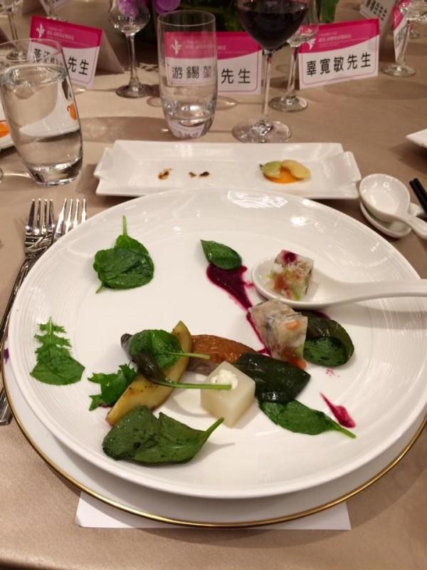 520國宴第一道菜:「福爾摩沙之春」。(圖擷取自游錫堃臉書)