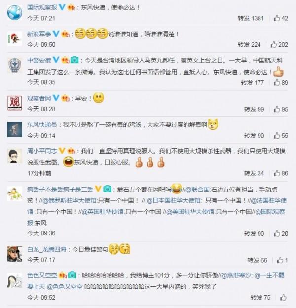許多中國媒體的官方微博也紛紛轉發這則飛彈文。(圖片取自微博)