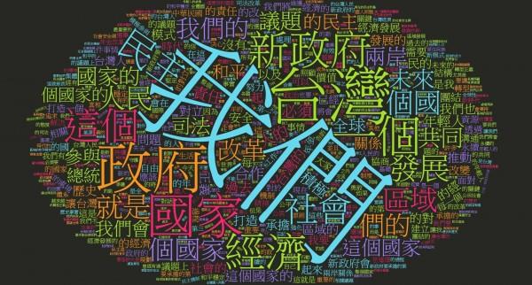 李柏鋒在臉書分享蔡英文520就職演說文字雲,「我們」、「政府」、「台灣」、「國家」、「民主」、「經濟」都是蔡在就職演說中多次提及的詞彙。(圖擷自李柏鋒臉書)