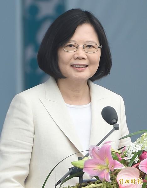 14任總統副總統就職慶祝大會20日在總統府前廣場舉行,總統蔡英文發表就職演說。(記者廖振輝攝)