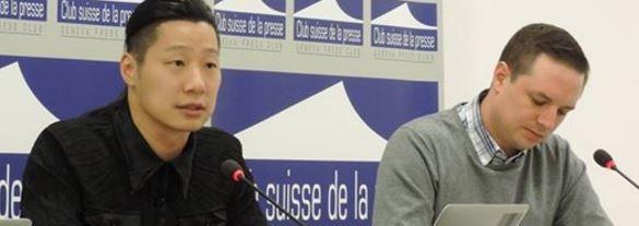 林昶佐於日內瓦國際新聞俱樂部召開記者會。(圖擷取自臉書)