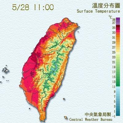 中午以前各地已出現高溫,此為溫度分布圖。(中央氣象局提供)