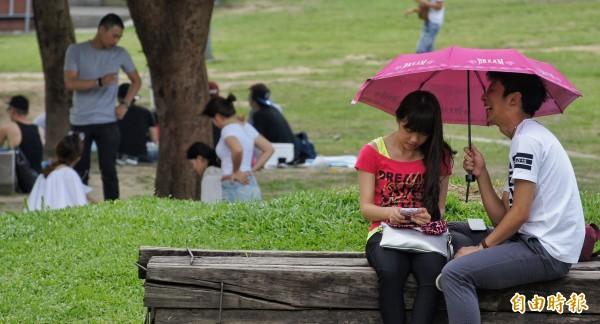 適逢週末不少人出遊,不過艷陽高照,多處紫外線過量。(資料照,記者劉信德攝)