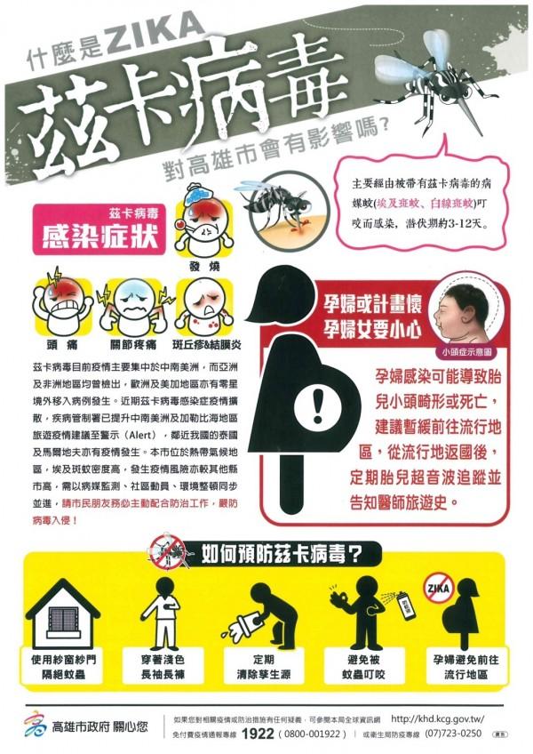 高雄市衛生局製作的茲卡宣導海報。(衛生局提供)